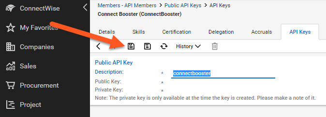 Update to ConnectWise REST API / Administration Usage / ConnectBooster